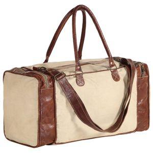 SIRUITON Weekender-Tasche Beige 54x23x52 cm Segeltuch und Echtleder