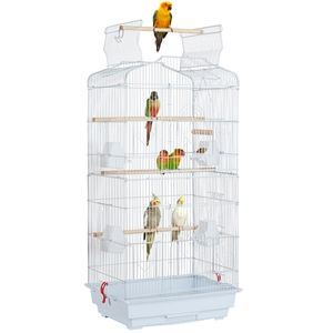 Yaheetech Vogelkäfig käfig Vogelvoliere Vogelhaus für Papagei Wellensittich finken kanarienvögel Weiß