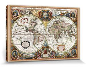 Historische Landkarten Poster Leinwandbild Auf Keilrahmen - Weltkarte, Nova Totius Terrarum, 1630 (80 x 120 cm)