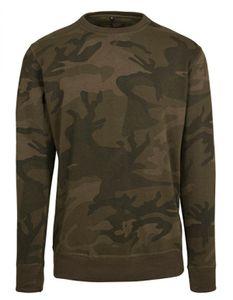 Herren Camo Crewneck T-Shirt - Lang geschnitten - Farbe: Olive Camo - Größe: 4XL