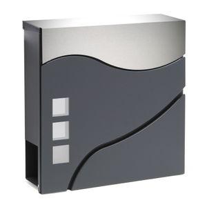 Moderner Design Briefkasten V28 Anthrazit pulverbeschichtet Wandbriefkasten Edelstahl Zeitungsrolle