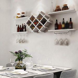 Weinregal Weiß Weinschrank hängen Weinregal Wandhalterung Flaschenhalter Regale Wandregal für Küche Restaurant Bar
