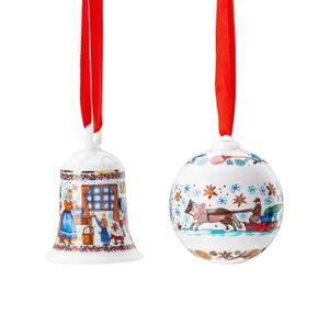 Porzellanglocke + Porzellankugel 2020 - Hutschenreuther - Motiv Weihnachtsbäckerei -