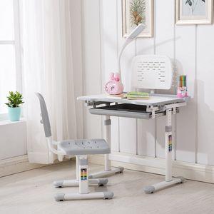 Kinderschreibtisch Schülerschreibtisch Schreibtisch einstellbar mit Stuhl & Lampe Grau