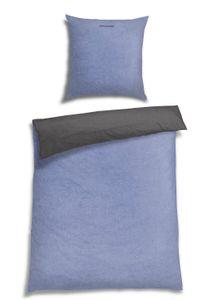 Schiesser Feinbiber Wendebettwäsche Doubleface, 100% Baumwolle, Farbe: hellblau, Größe:135 cm x 200 cm