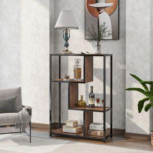 Tiema Bücherregal Bücherschrank mit 4 offenen Regalebenen stabiles Stahlgestell Industrie-Design vintagebraun-schwarz