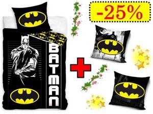 Aktion Batman Bettwäsche Wendebettwäsche Set , 4-teilig , 135 x 200 cm , 80 x 80 cm , 100% Baumwolle, Linon, + 2 x Kissenbezug 40 x 40 cm