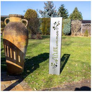 Willkommen Gartenstecker Gartenschild | Rost Garten-Deko | 120cm x 21cm, Design:HerzHimmel