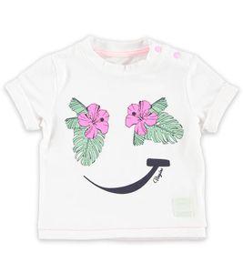 VINGINO T-Shirt sommerlich weiches Kinder Rundhals-Shirt mit Smiley Aufdruck Weiß, Größe:50/56
