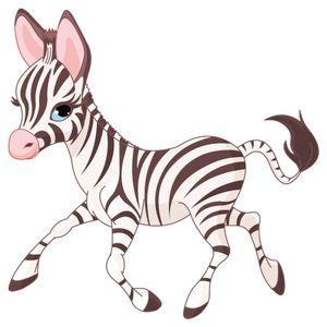 dekodino® Wandtattoo Zebra Fohlen Kinderzimmer Wandsticker Deko