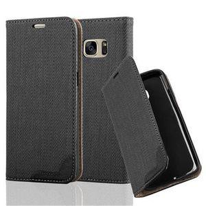 Cadorabo Hülle für Samsung Galaxy S7 - Hülle in EBENHOLZ SCHWARZ - Handyhülle in Bast-Optik mit Kartenfach und Standfunktion - Case Cover Schutzhülle Etui Tasche Book Klapp Style