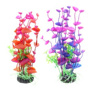 2x Künstliche Orchidee Kunstpflanzen Aquarium Fisch Behälter Dekoration