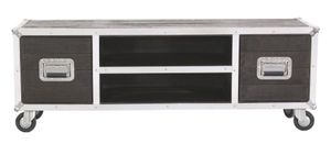 SIT Möbel Lowboard auf Rollen | 2 Türen, 2 offene Fächer | Mangoholz dunkelbraun | Alubeschläge silber | B 140 x T 40 x H 50 cm | 06515-30 | Serie DARK ROADIES