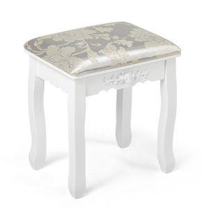 Meerveil Sitzhocker,Schminktisch-Hocker, Make-up Hocker, weiches Kissen, Eichenbeine, weiß, Barock, Holz, für Schlafzimmer Make-up