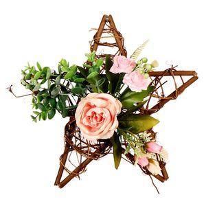 DIY Künstlich Pfingstrose Rosen Kranz Blütenkranz für Tür Tisch Stuhl Wand usw. 30x28x30cm Rosa Rose + Eukalyptusblätter