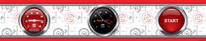 Cars Bordüre Tapeten-Borte Selbstklebend - Red Racing Cockpit (10 x 500 cm)