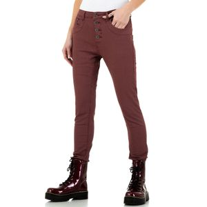 Ital-Design Damen Jeans Boyfriend Jeans Weinrot Gr.36