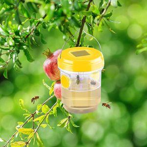 Solar Insektenfalle 2er Set mit Solar-LED-Leuchte, Bienenfalle zum aufhängen, Wespenfänger für Wespe, Wespenfalle Lebendfalle Fliegenfalle, Solar Insektenfalle für Balkon, Terrasse, Garten