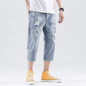 Herren Loose Denim Baumwolle Straight Hole Hose Distressed Jeans 3/4 Länge Hose Größe:27,Farbe:Blau