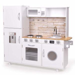 FROGGY Kinderküche aus Holz in weiß   Mit vielen Spielemöglichkeiten   Mikrowelle, Kühlschrank, Spüle und Herd   Holzküche Spielküche   Platzsparend, auch für kleine Wohnungen geeignet