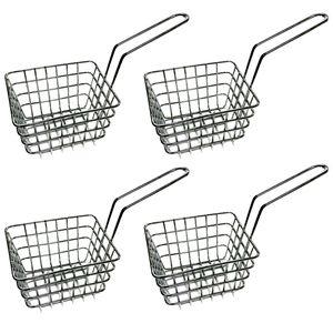 4 Stück Mini Frittierkörbchen | Servierkorb Pommes Frittierkorb | Pommesschale