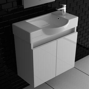 Alpenberger Keramikbecken 55 cm Breit Unterschrank Soft-Close Weiß Hochglanz 2-Türig Badmöbel Set Waschplatz bestehend aus Becken und Unterschrank