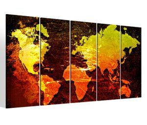 Leinwandbilder 5 teilig XXL 200x100cm Karte Welt Weltkarte Landkarte Afrika map alt Druck auf Leinwand Bild 9BM330