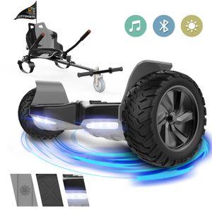 GeekMe Hoverboard All Terrain Self Balancing Scooter mit leistungsstarker LED-Motorbeleuchtung Bluetooth für Erwachsene und Kinder 8,5 Zoll Mit Hoverkart Karting