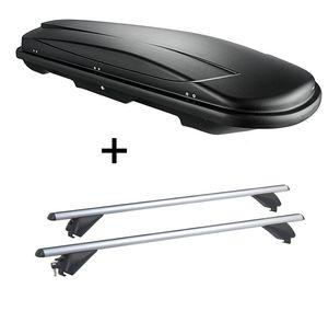 Dachbox VDPJUXT600 600Ltr abschließbar  + Alu Dachträger RB003 kompatibel mit Volkswagen Touran (5Türer) ab 2015