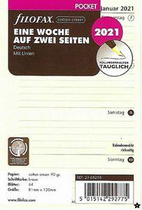 Filofax Kalendereinlage Pocket: Eine Woche auf zwei Seiten 2021 in cotton cream deutsch mit Linien