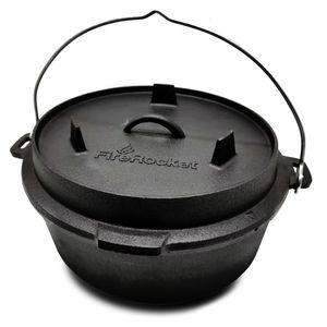 FireRocket Dutch Oven 6qt 5,5L ohne Füße Premium Gusseisen Schmortopf Gusstopf Feuertopf Bräter eingebrannt niederländischer Kochtopf verschiedene Größen