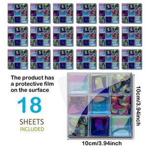 18 Blatt / Set wasserdicht oeldicht Mosaikfliesen Aufkleber schaelen und kleben mehrfarbige DIY selbstklebende Wand Badezimmer Kueche Dekoration Abziehbilder Tapete