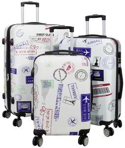 Monopol Kofferset Flight 3-teilig weiß 37872 Koffer mit 4 Rollen
