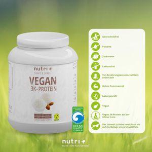 Protein Vegan 1kg - 84,1% pflanzliches Eiweiß - Nutri-Plus Shape & Shake 3k-Proteinpulver - Veganes Eiweißpulver ohne Laktose & Milcheiweiß - Kokos-Mandel