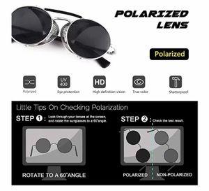 Retro Sonnenbrille im Steampunk Stil Runde Metallrahmen Polarisiert Brille Herren Damen