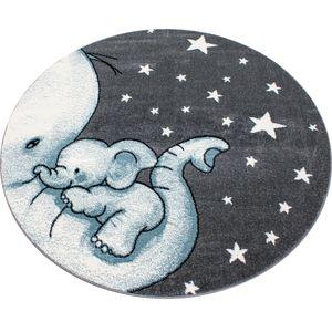 Kinderteppich Kinderzimmer Babyzimmer Kurzflor Elefanten Mama Grau Blau Meliert, Grösse:120 cm Rund