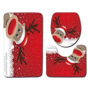 3 Teilig Set Badgarnitur Badteppich Badezimmer Duschmatte Vorleger Badvorleger Badezimmerdekoration für das Badezimmer Christmas Dekoration