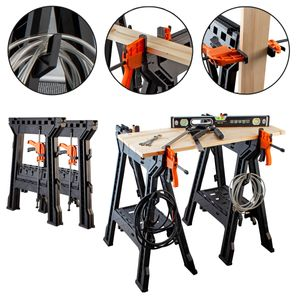 STAHLWERK Arbeitsbock Spannbock Sägebock Werkstatttisch 2er Set bis zu 450 kg
