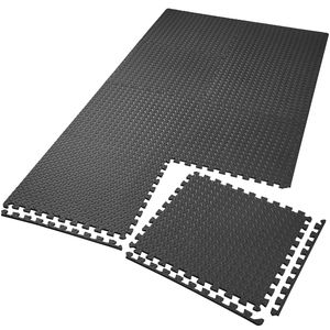 tectake Bodenschutzmatte 8-tlg. - schwarz
