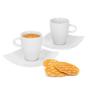 4tlgSet Santos Espressotasse Untertasse 2Pers Porzellan Mini 80ml Unterteller Geschirr weiß Gastro