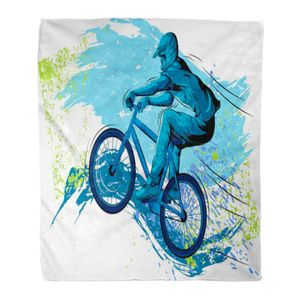 ABPHQTO Throw Blanket Flanell BMX von Sportsman Cycling Extreme Bike Freestyle 145x200 cm