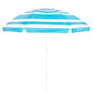 Sonnenschirm Marktschirm Gartenschirm Strandschirm Schirm 220 cm - weiß+blau