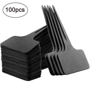 100 STK T-Typ Pflanzenschilder schwarz Plastik Pflanzenstecker zum Beschriften Garten Etiketten Stecketiketten Kunststoff