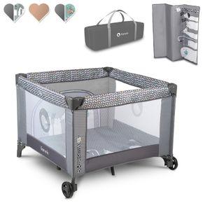 Lionelo Sofie Laufstall Baby Bett Reisebett Baby ab Geburt bis 15 kg Seiteneingang zusammenklappbar Grau