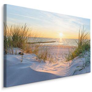 Fabelhafte Canvas LEINWAND BILDER 120x80 cm XXL Kunstdruck Meer Strand Dünen Sonne