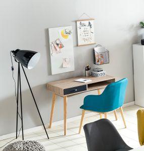 FineBuy Schreibtisch MASSA 90 x 78 x 45 cm mit Schublade in Sonoma Eiche | Computertisch im modernen Retro Design | Platzsparender Laptop-Tisch für Schüler und Jugendliche