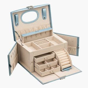 ADEL DREAM Schmuckkasten, Schmuckkoffer, groß, abschließbar, 4 Ebenen mit 3 Schubladen, mit Spiegel, für Ringe, Ohrringe, Halsketten und Armbänder, elegant und klassisch Farbe Champagner blau