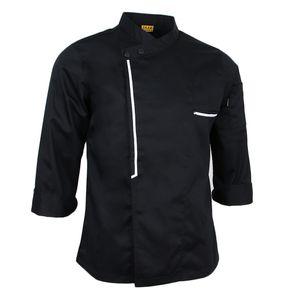 Damen Herren Kochjacke Langarm Bäckerjacke Kochkleidung Koch Arbeitskleidung Größe M Farbe Schwarz