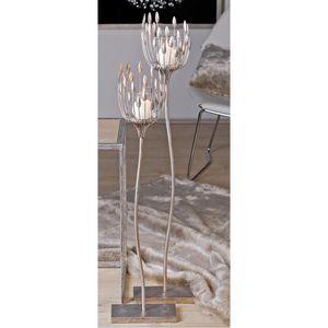 Casablanca Leuchter Trevi Met.ant.sil B m.Glas 2er Set   H.93/D 18 cm
