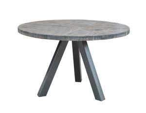 SIT Möbel Tisch aus Mango, Gestell in antiksilber|B120 x T120 x H76 cm|07107-71|Serie THIS & THAT